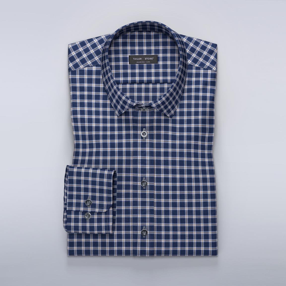 Rutig skjorta i navy/brunt