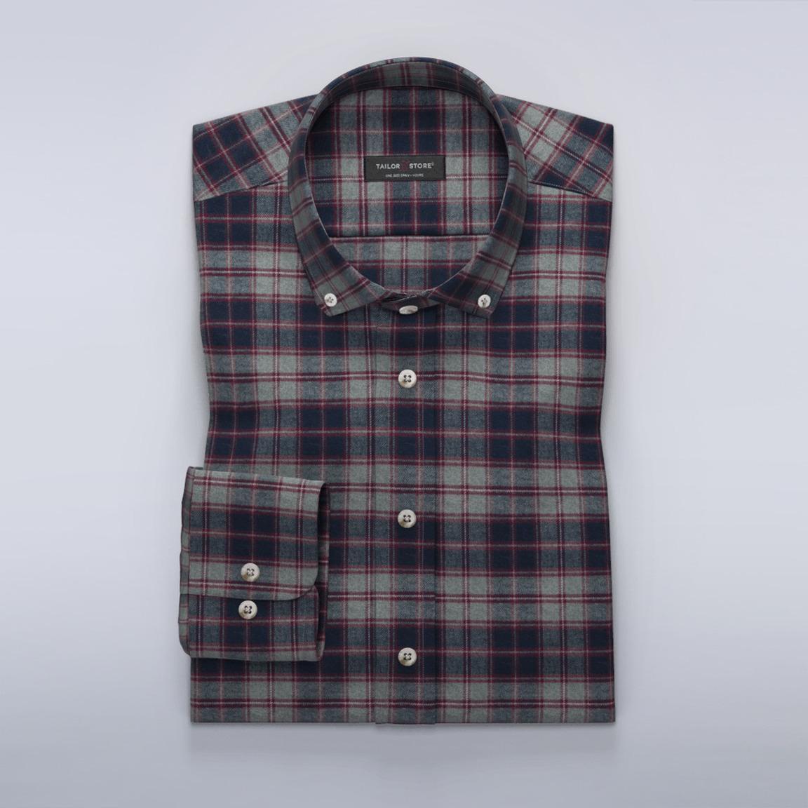Rutig flanellskjorta i grått och lila