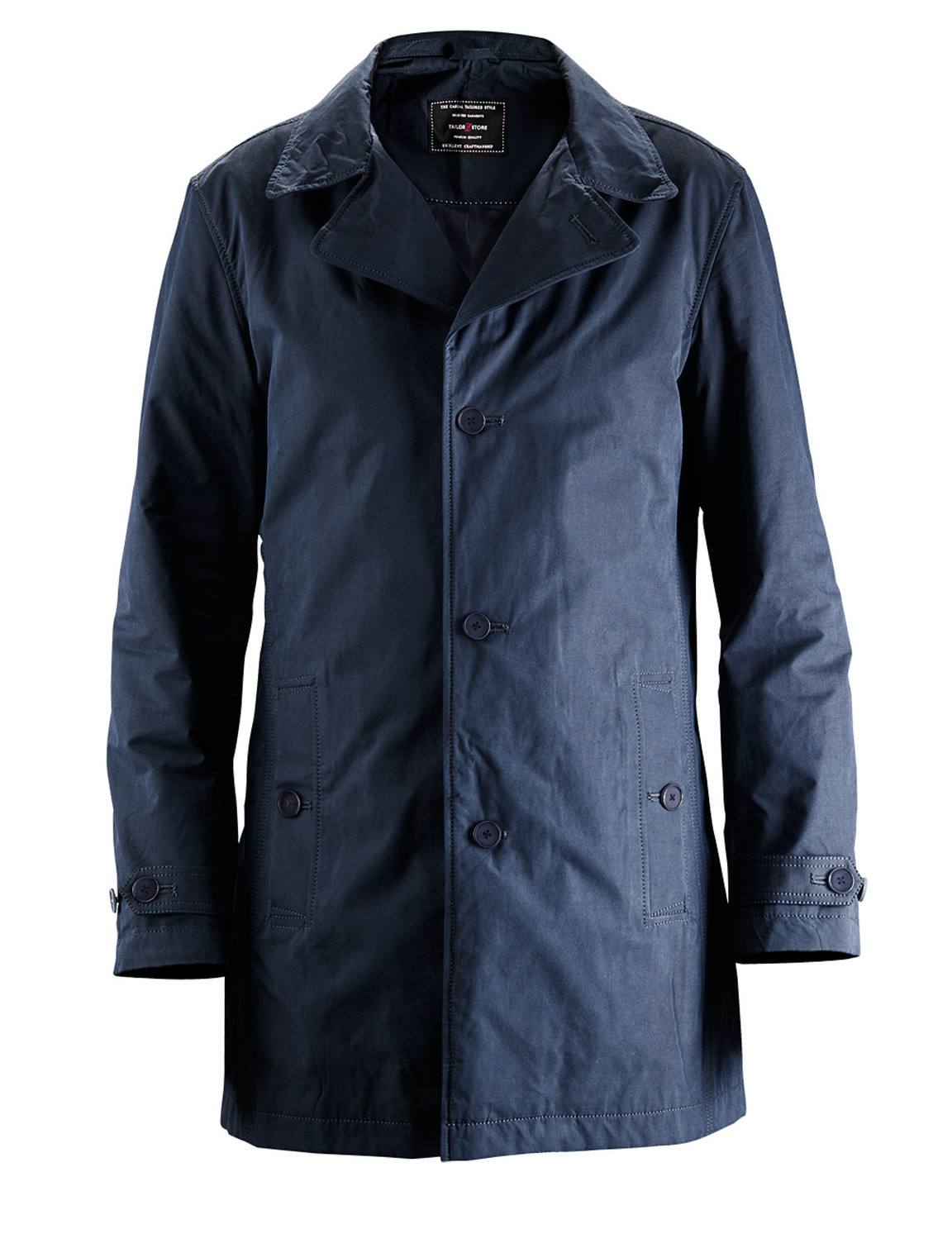 Marinblå skräddarsydd casual car coat - regular fit