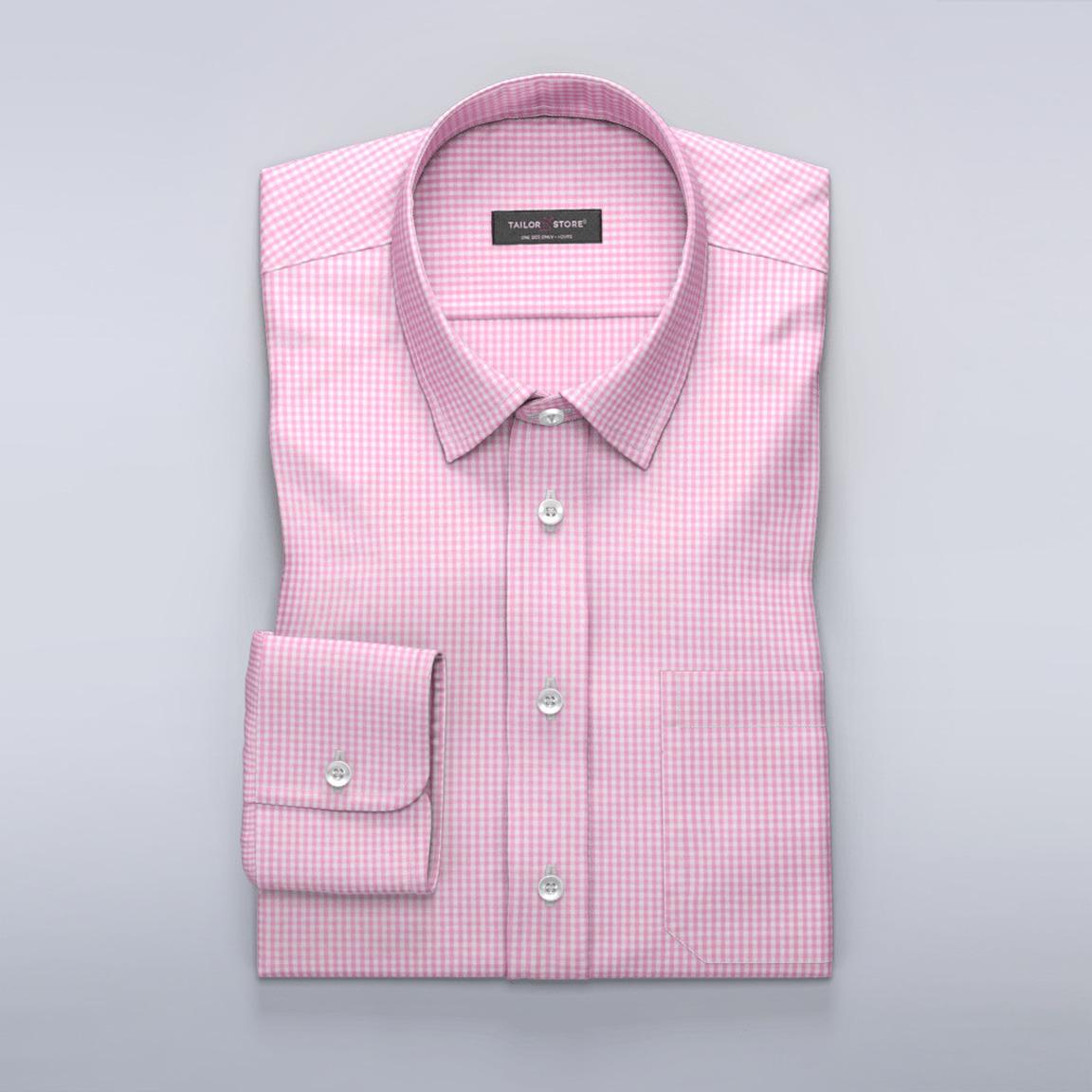 Popelinowa koszula w biało-różową kratkę