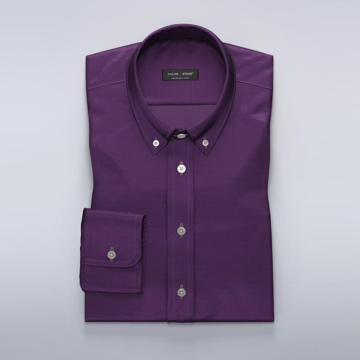 Ciemnofioletowa satynowa koszula z bawełny