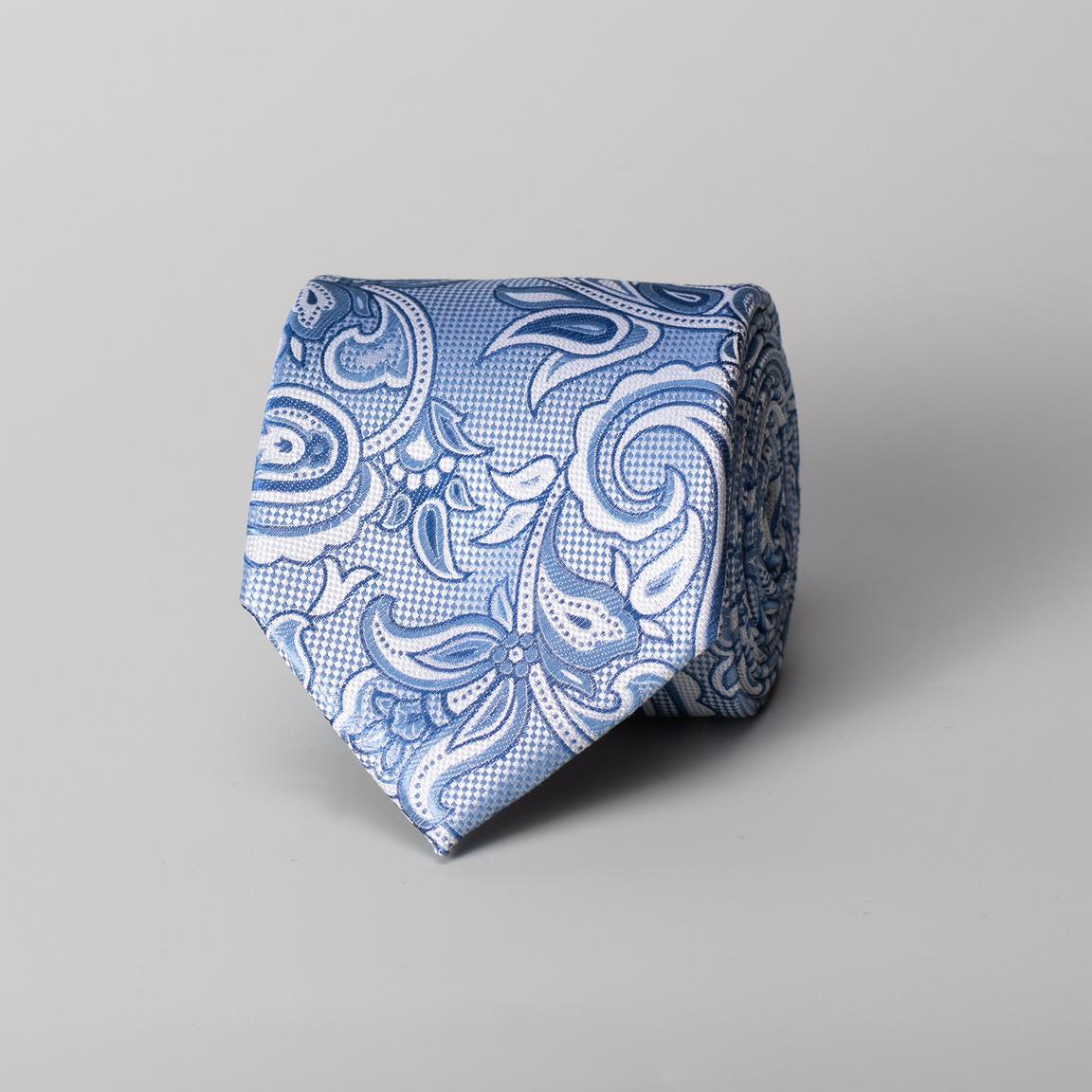 Light Blue Paisley Silk Tie