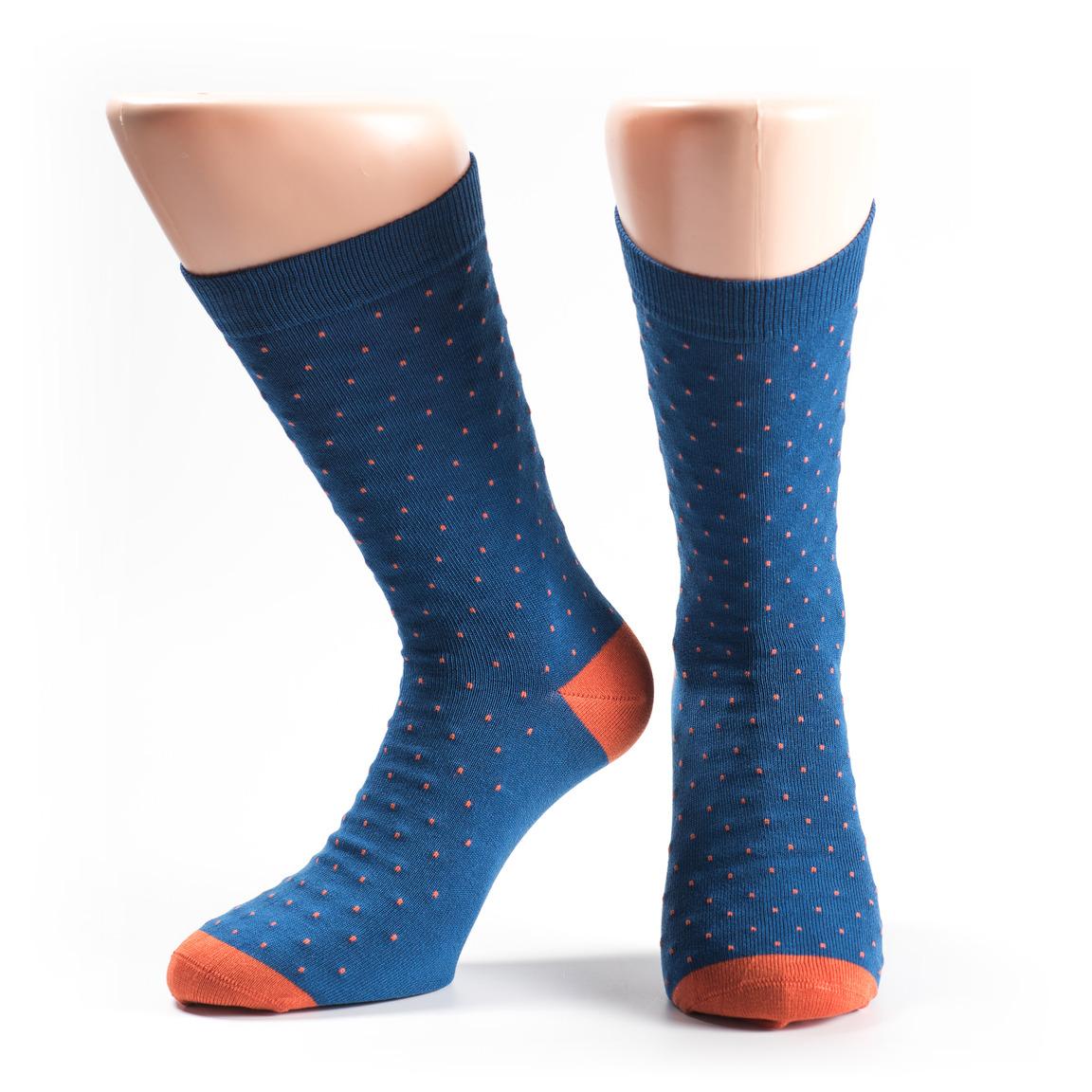 Men's blue socks with orange dots