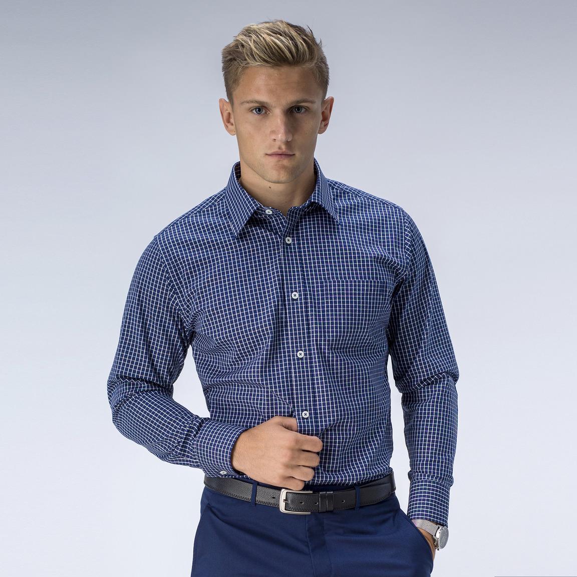 Navy geruit Oxford overhemd