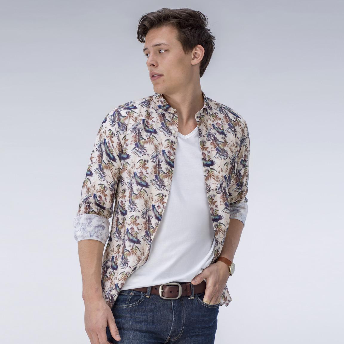 Beige print linen shirt