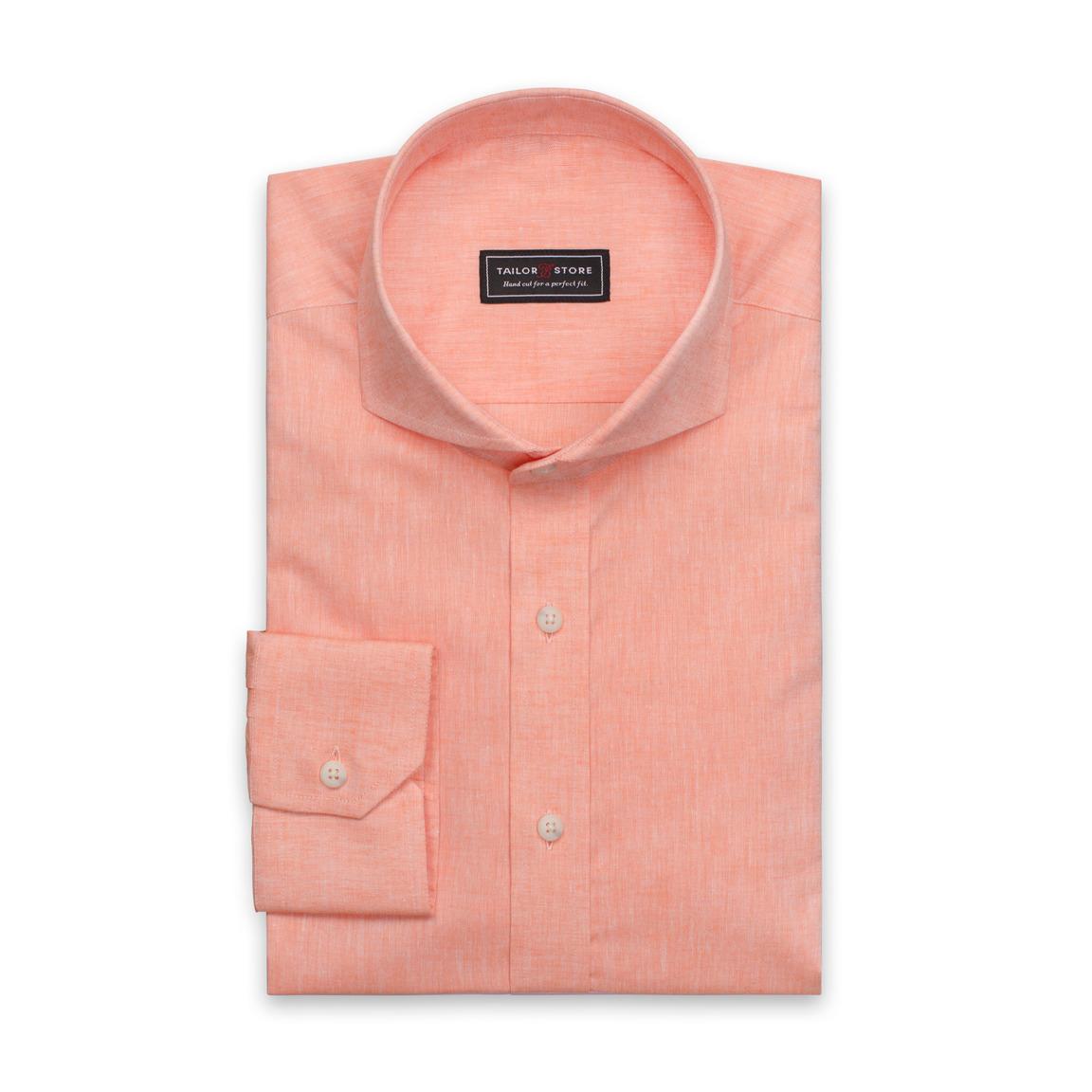 Orangefarbenes Hemd aus Baumwolle/Leinen
