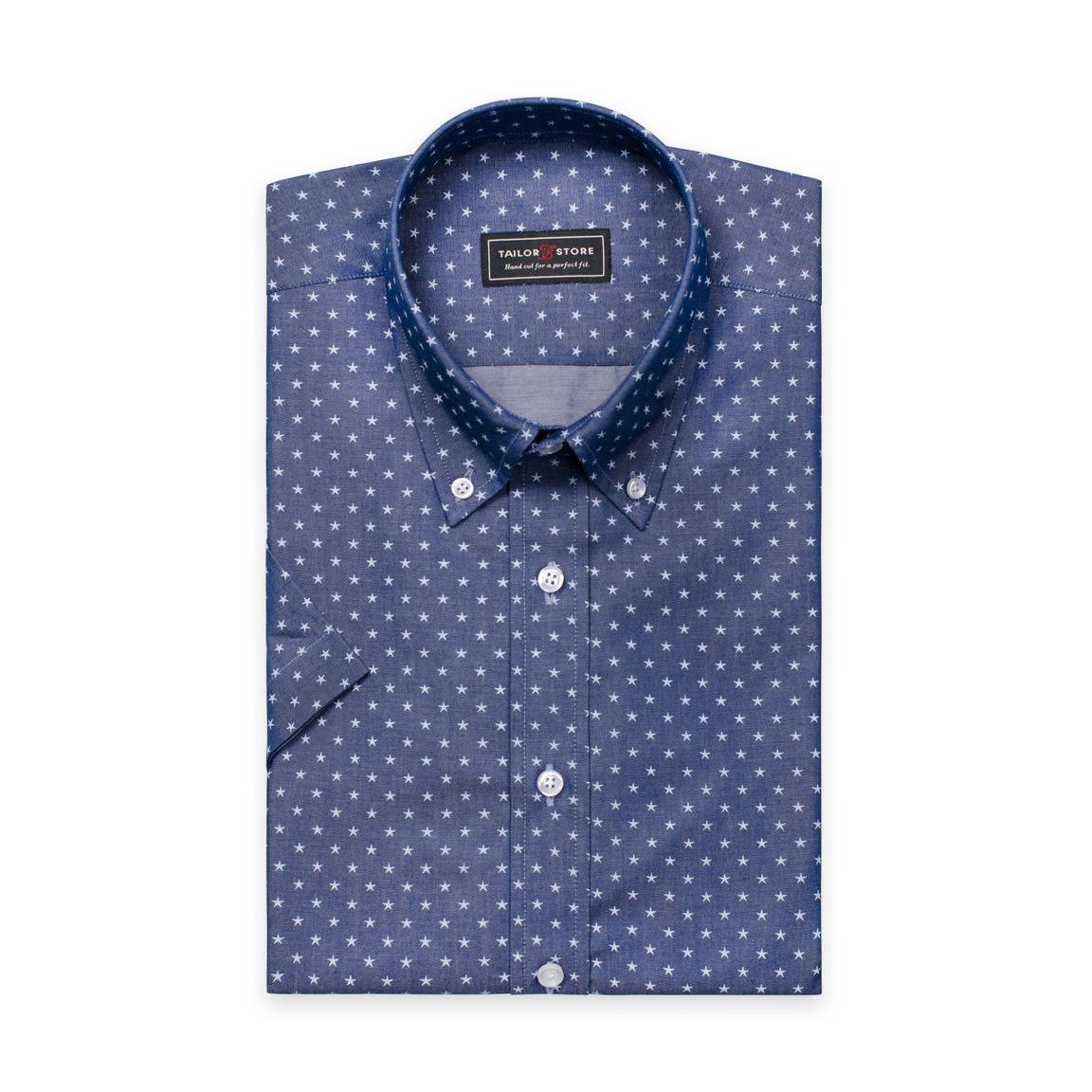 Blå chambrayskjorta med button-down classic krage