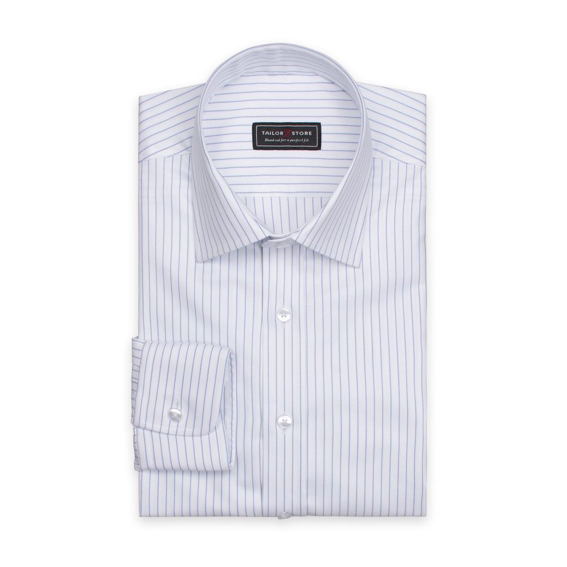 Hvid/Blå stribet skjorte i økologisk bomuld