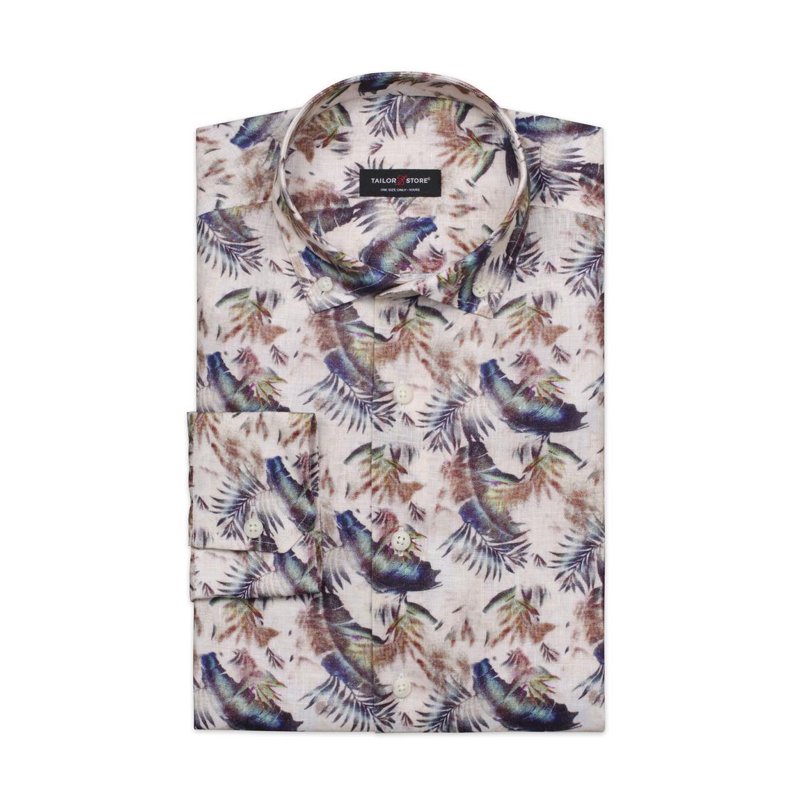 Limited edition, linneskjorta med mönster av blad och fjädrar