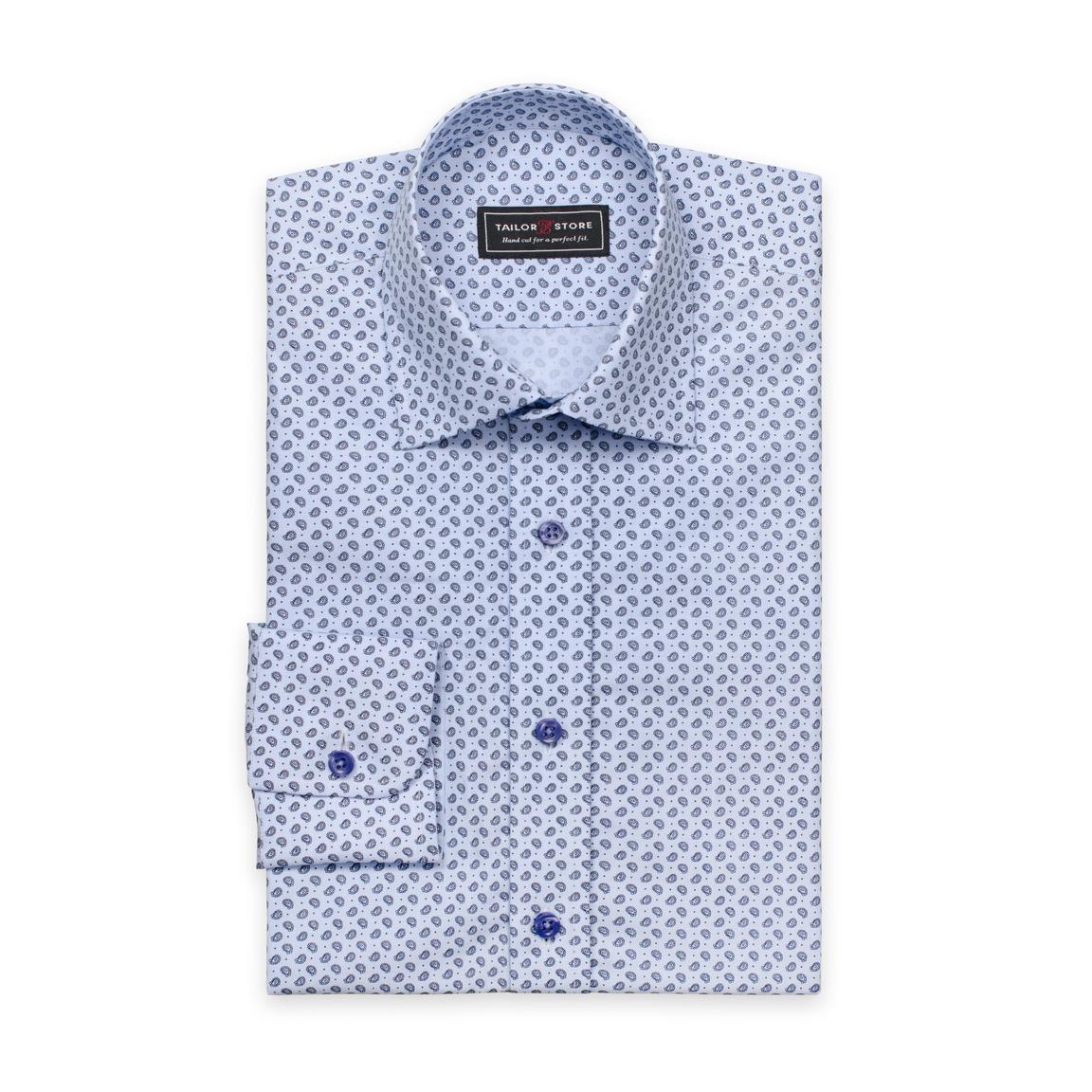 Blaues Poplin-Hemd in Paisley-Muster