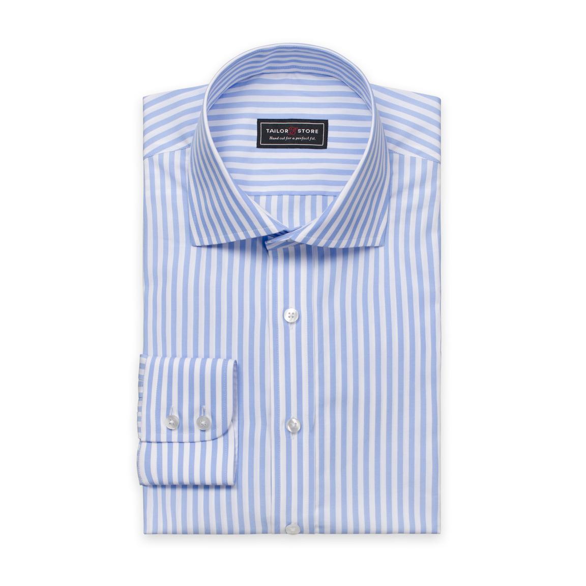 Weiß/blau gestreiftes Poplin-Hemd