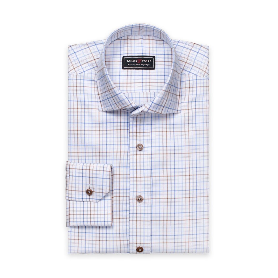 Hvit/Blå/Brunrutete oxfordskjorte