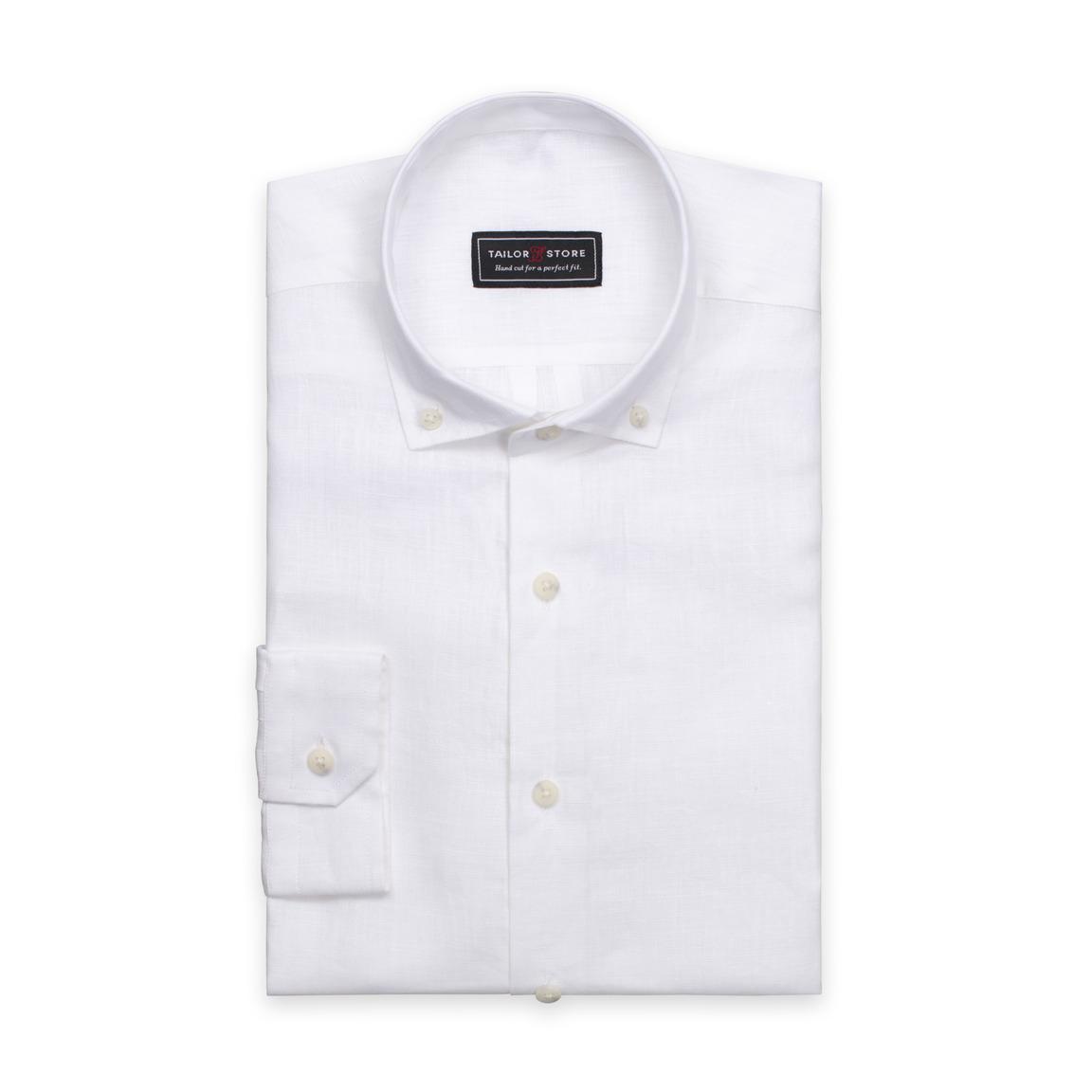 Weißes Leinenhemd mit Button-down Modern Kragen