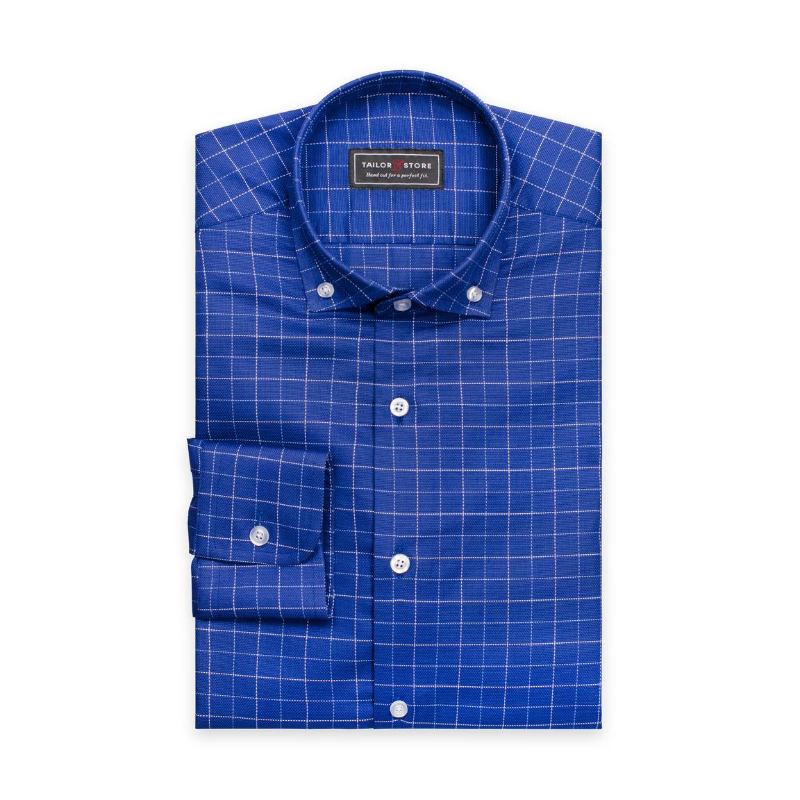 Klarblå/vitrutig skjorta i bomull