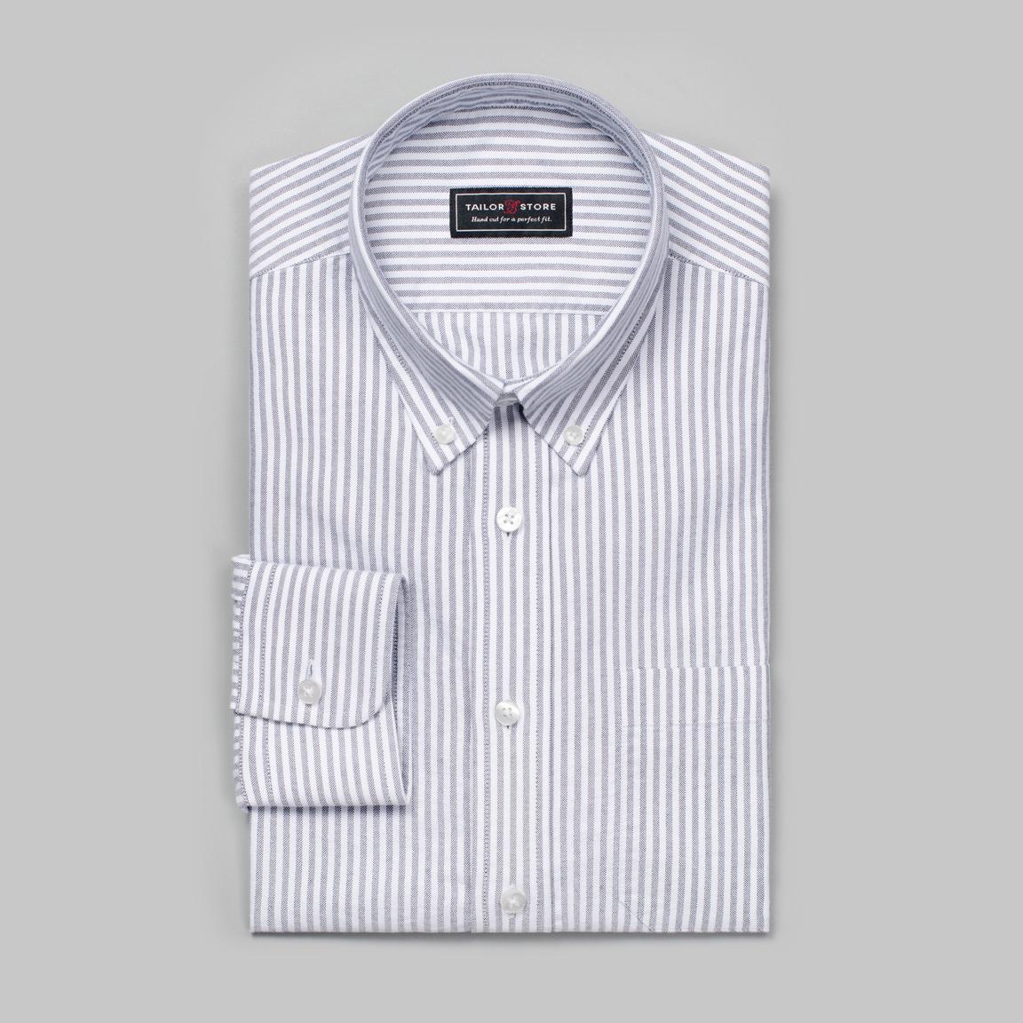 Hvit/Svartstripet oxford-skjorte
