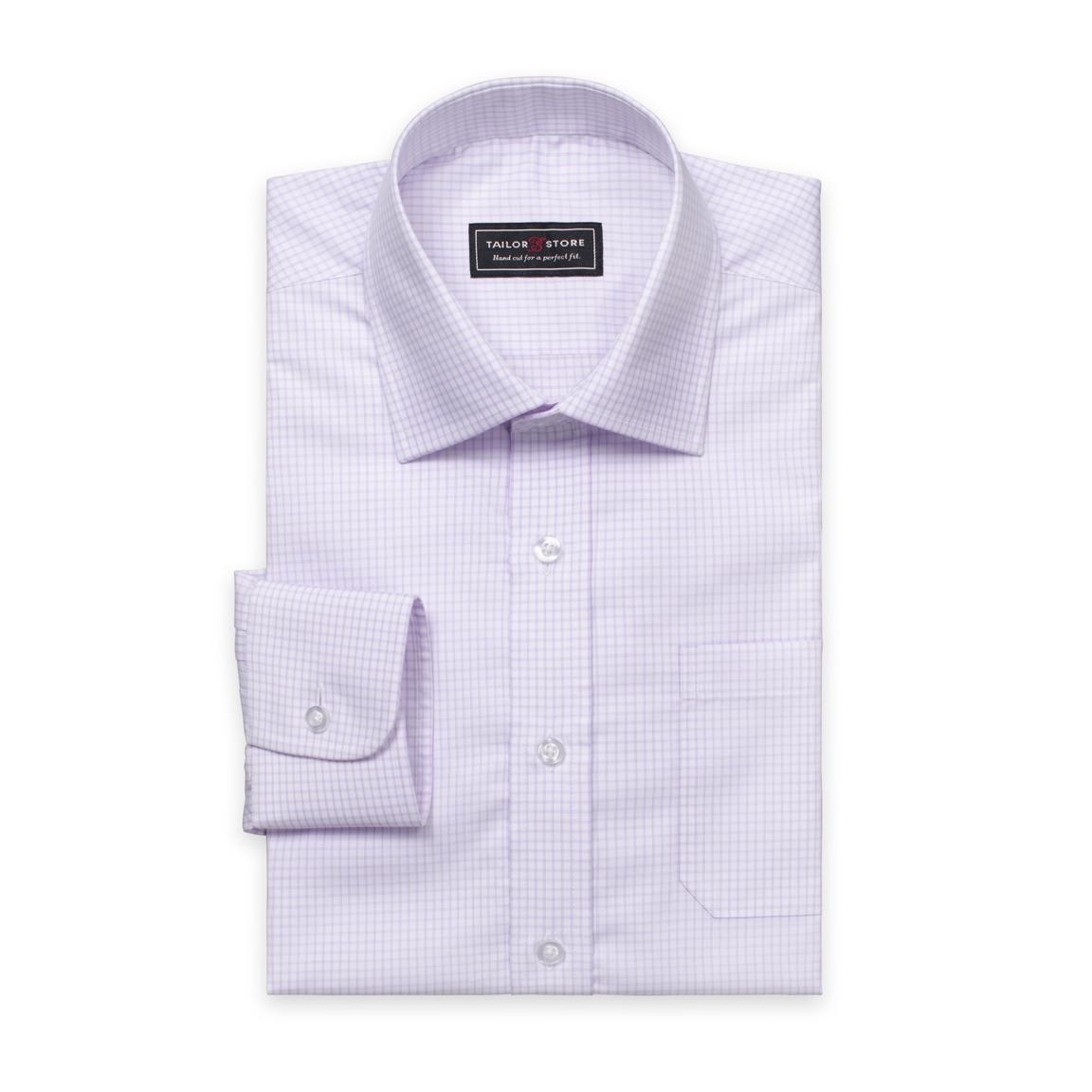 White/Light purple checked twill shirt