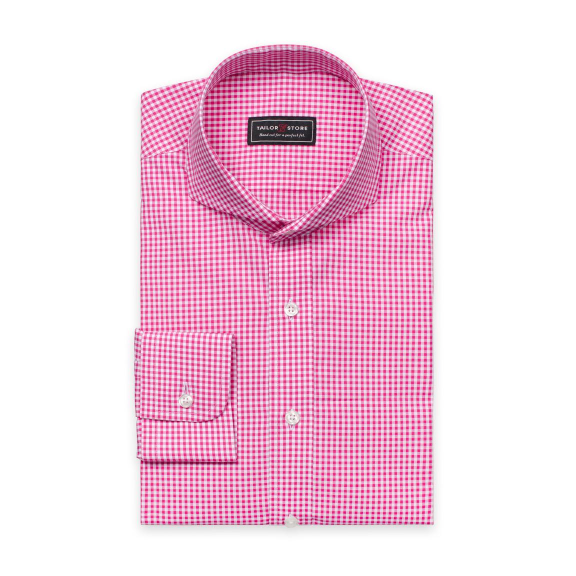 Pink/White checked poplin shirt
