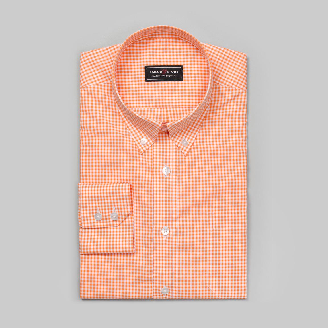 Koszula w biało-pomarańczową kratkę