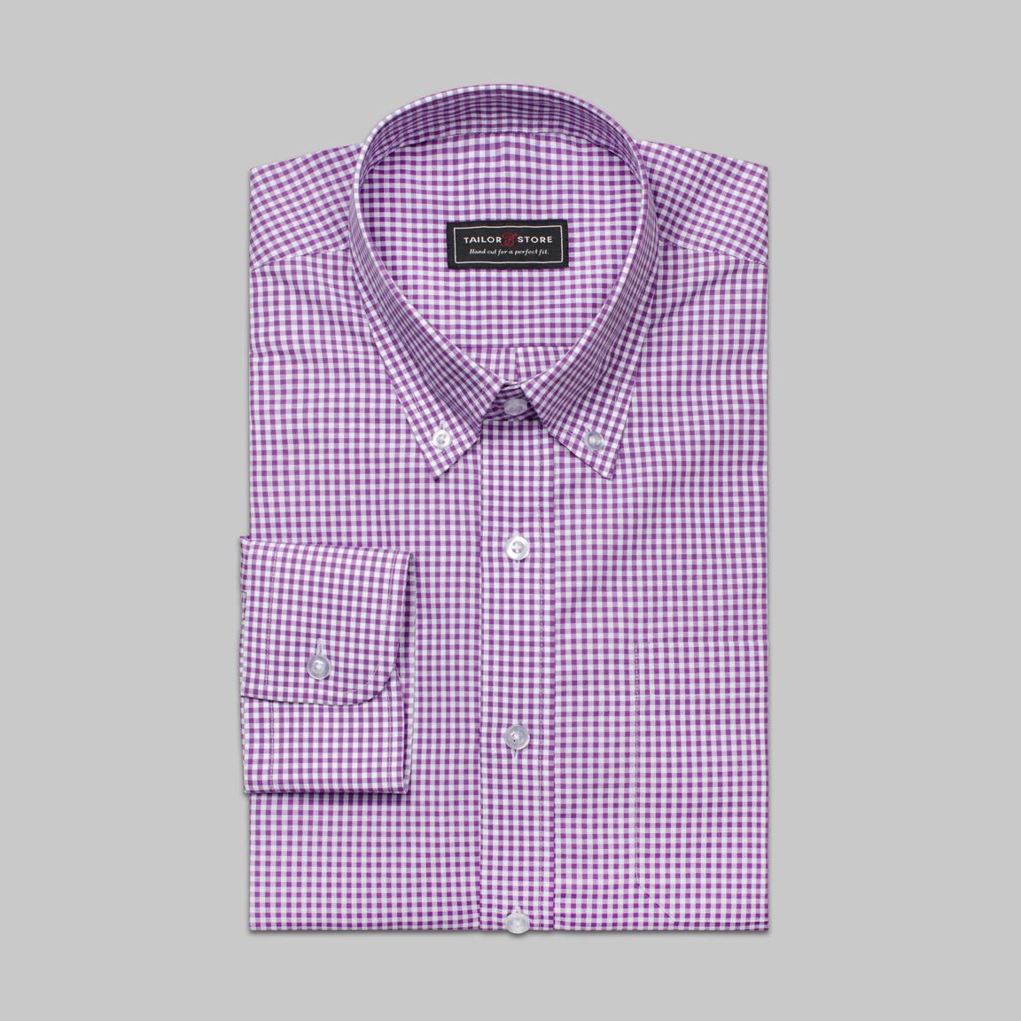 Wit/Paars geruit overhemd