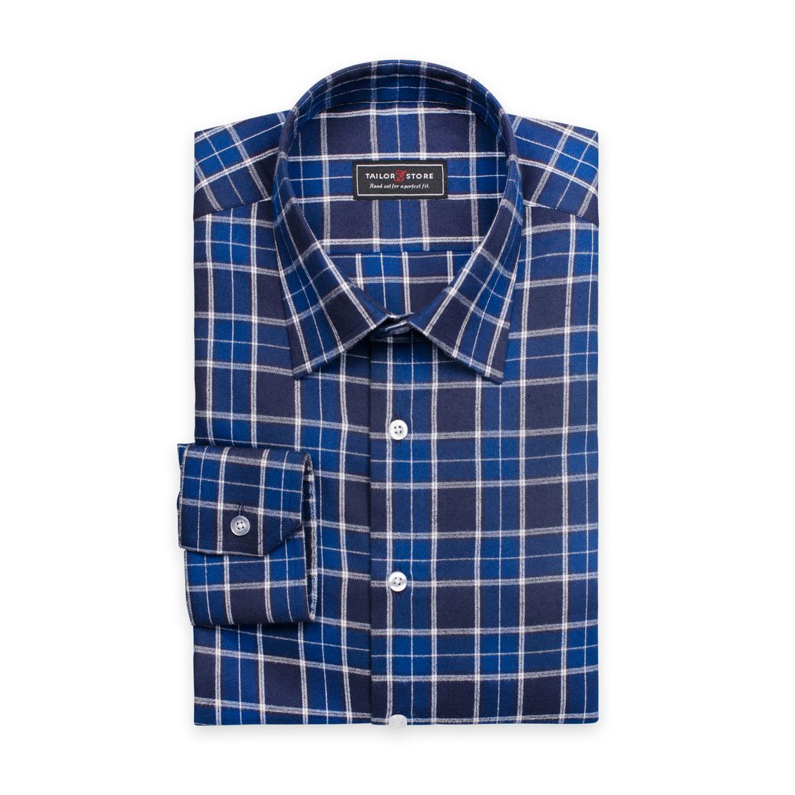 Ledig tartanrutig skjorta i navy/svart/vitt