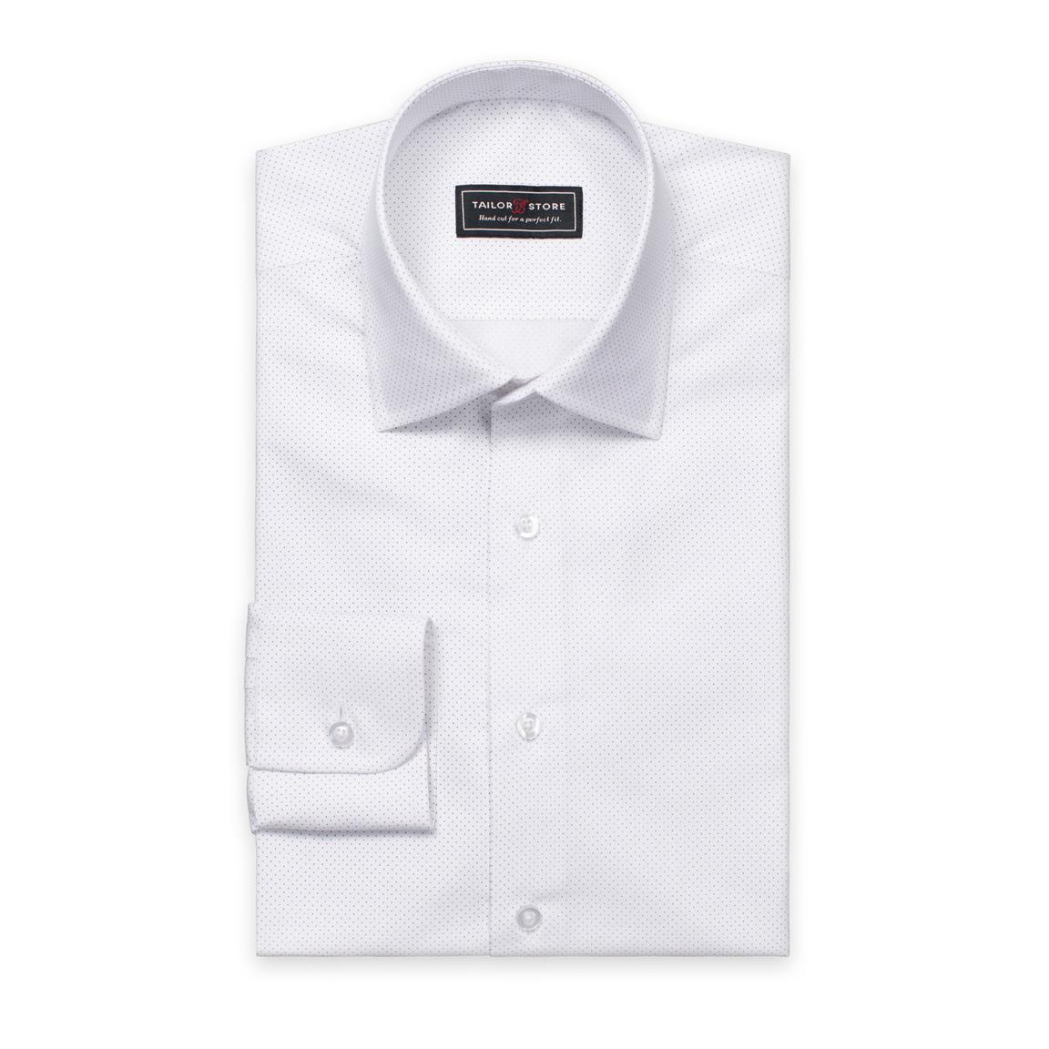 Vit/Mörkblåprickig poplinskjorta