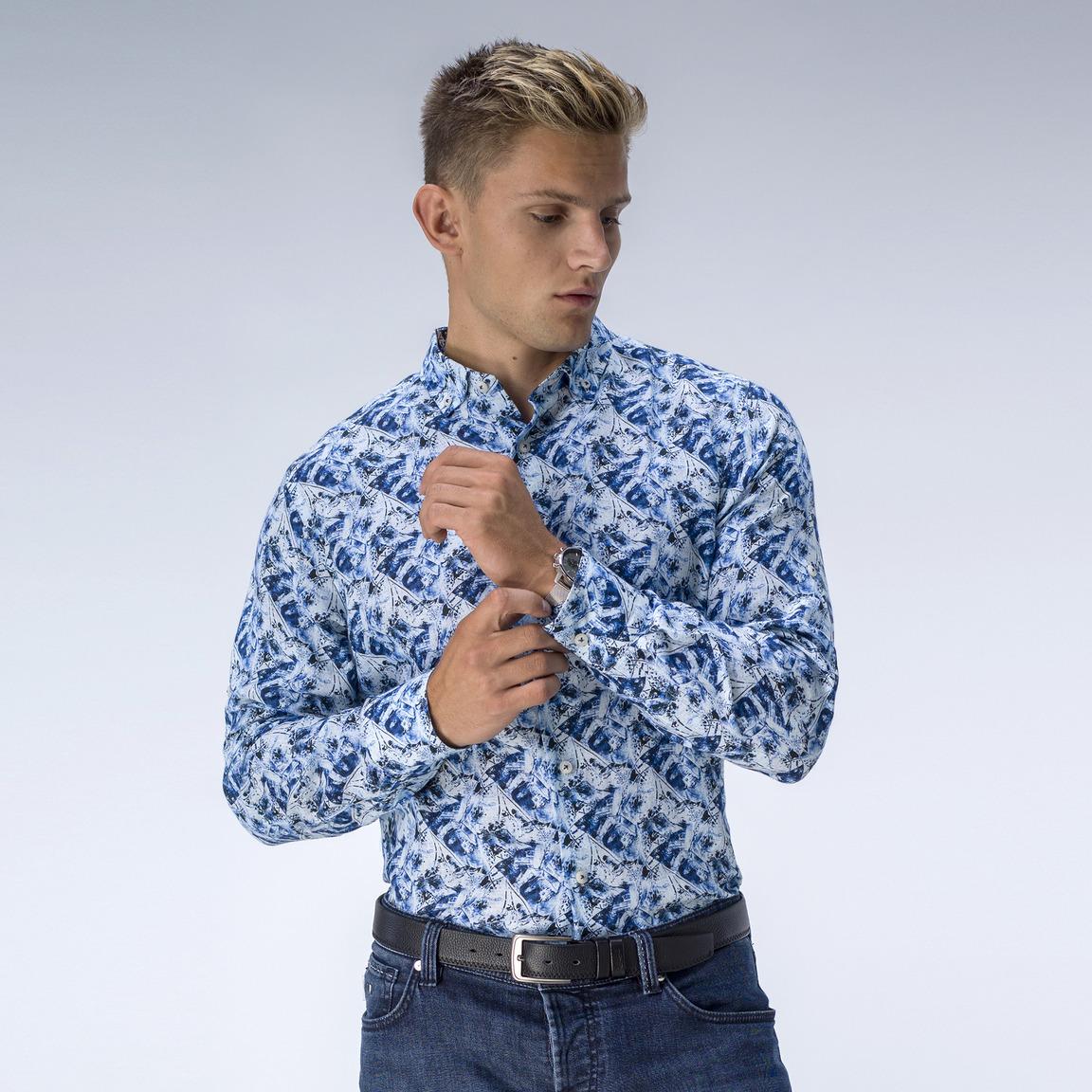 Mönstrad blå linneskjorta