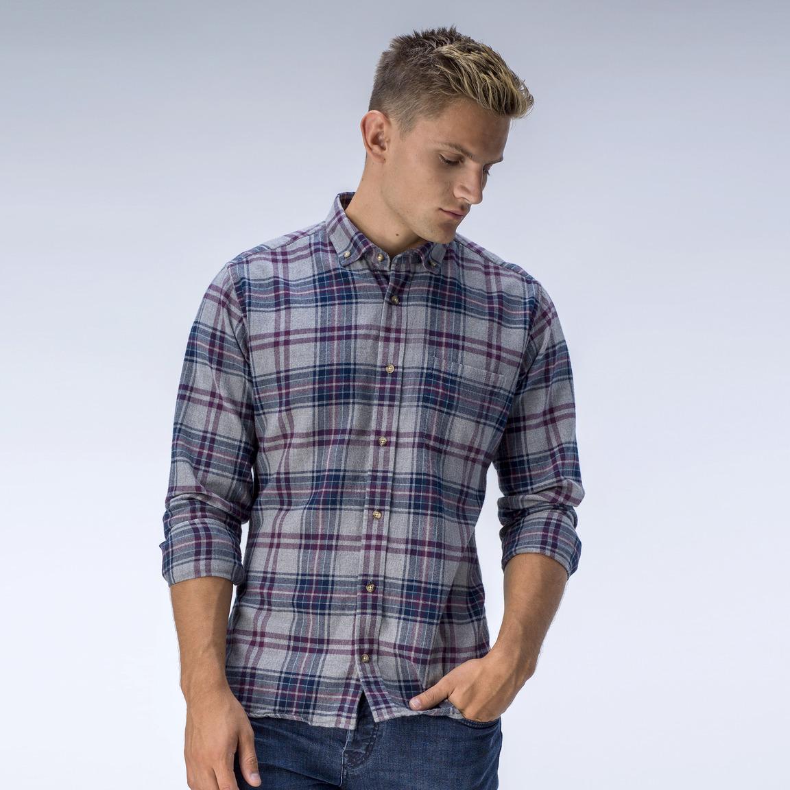Grey and plum tartan flannel shirt