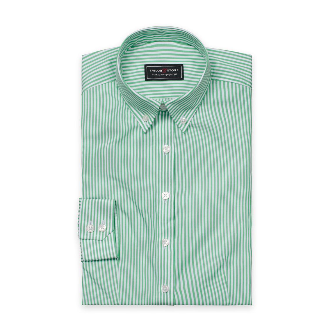 Vit/grönrandig poplinskjorta