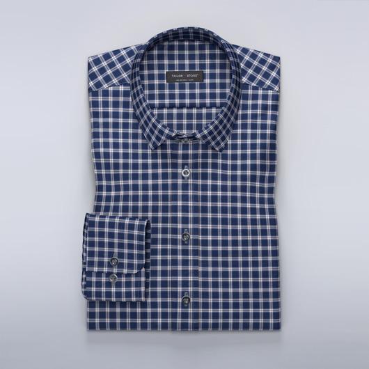 Chemise à carreaux en bleu marine et brun sur mesure
