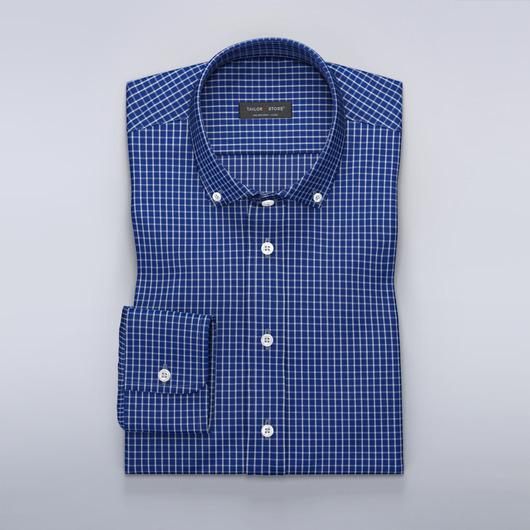 Blå Oxfordskjorta med vita rutor