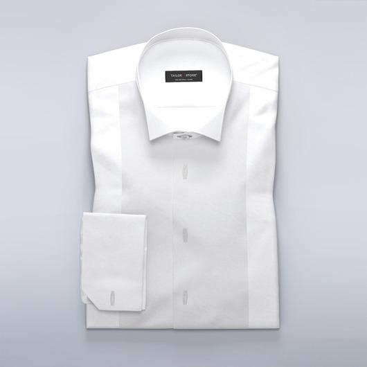 Klassinen valkoinen, solmion kanssa sopimaan suunniteltu kauluspaita, jossa napit jäävät nappilistan alle