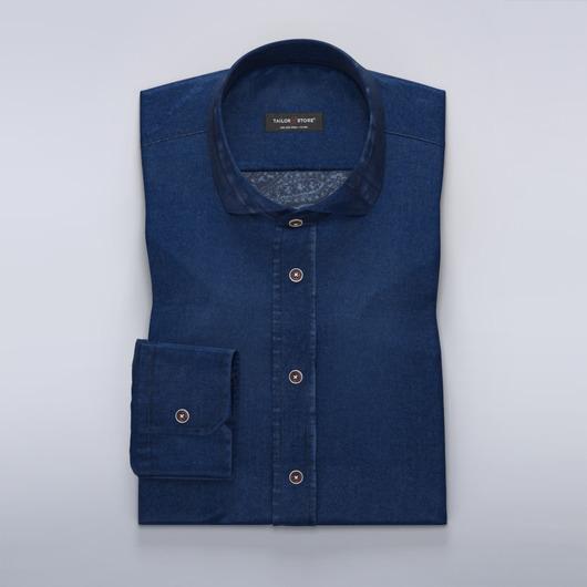 Denim dress shirt with paisley print