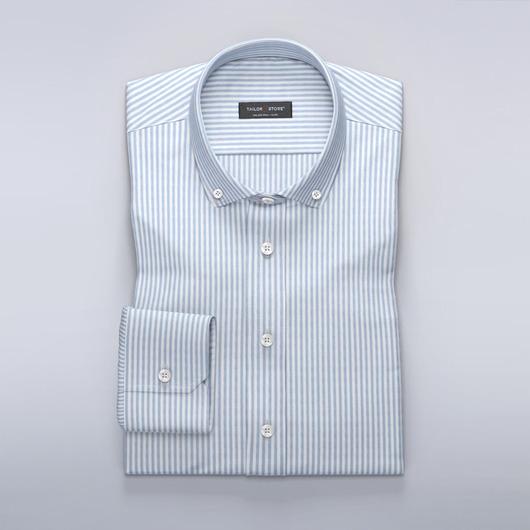 Women's dress shirt in white/blue striped oxford