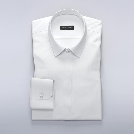 Women's business shirt in white herringbone
