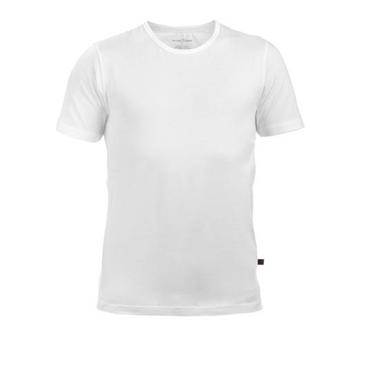 Vit rundhalsad T-shirt i stretch, 2-pack
