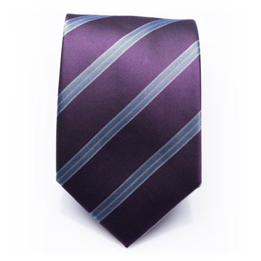 Barclay Plum - Purple/blue striped silk necktie