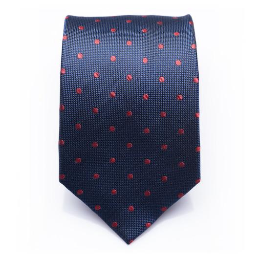 Venton Crimson - Blue/red dotted silk necktie