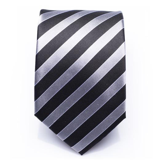 Hollindale Silver - Silver/Black striped silk necktie