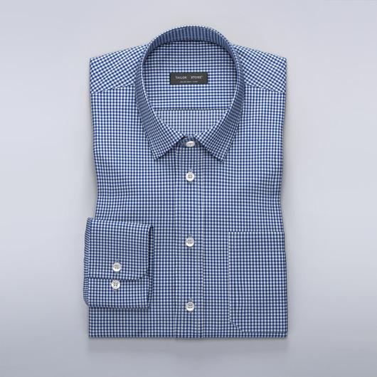 Chemise en popeline à carreaux avec un col business classique Blanc/Bleu