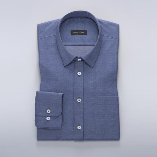 Donkerblauw chambray overhemd
