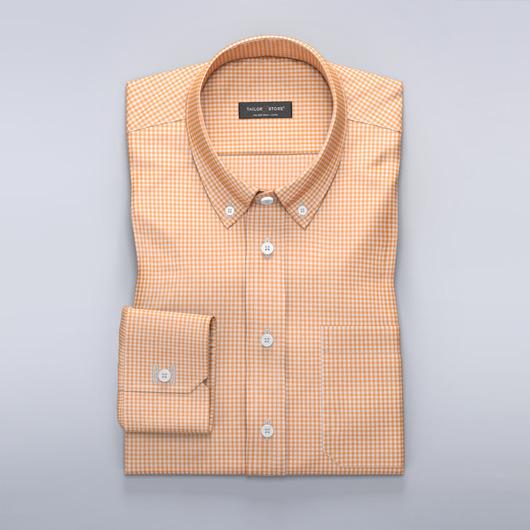 Hvit/oransje rutete skjorte