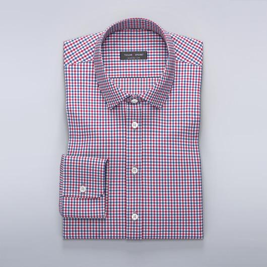 Chemise à carreaux en bleu et rouge