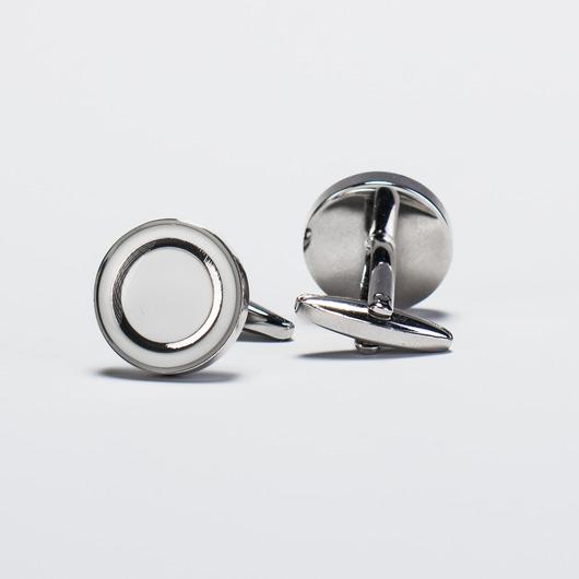 Manschettknappar runda silver och vit emalj