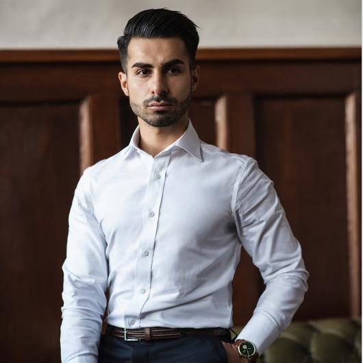 Hvid businessskjorte i oxford-stof af høj kvalitet