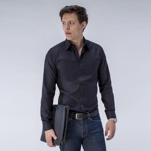 Schwarzes Hemd aus französischem Oxfordstoff