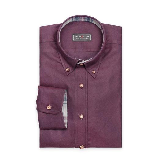 Vinröd flanellskjorta med button-down classic-krage