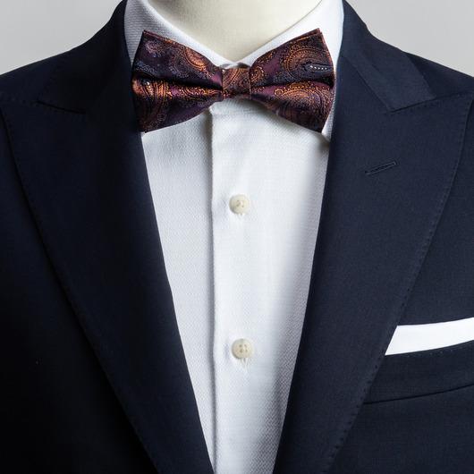 Plum paisley bow tie