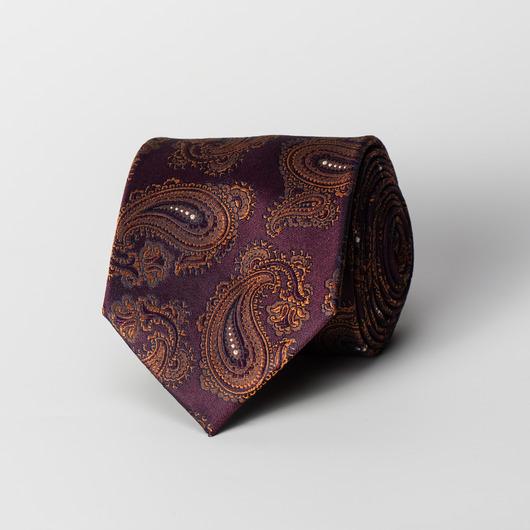 Śliwkowy jedwabny krawat paisley