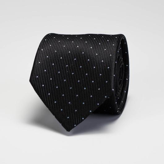 Black dotted silk tie