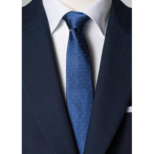 Blauwe zijden stropdas met stippen